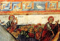Andrea, Pietro e gli altri discepoli con Gesù sulla barca