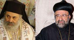 metropolitan Paul Yazigi, Greek-Orthodox archbishop of Aleppo and Alessandretta (left); metropolitan John Ibrahim, Syro-Orthodox archbishop of Aleppo (right)